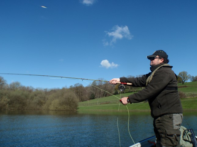 Gary Collins Pike fly fishing at Bewl Water